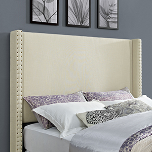 Casey Wingback Upholstered King or Cal King Headboard in Creme Linen