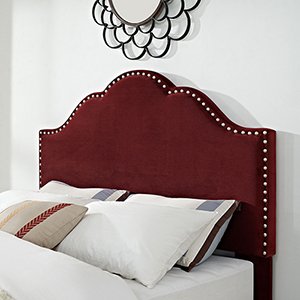 Preston Camelback Upholstered Full or Queen Headboard in Merlot Microfiber