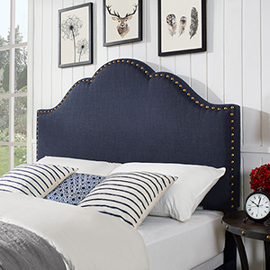 Preston Camelback Upholstered Full or Queen Headboard in Navy Linen