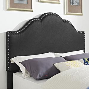 Preston Camelback Upholstered King or Cal King Headboard in Charcoal Linen