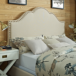 Preston Camelback Upholstered King or Cal King Headboard in Creme Linen