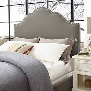 Preston Camelback Upholstered King or Cal King Headboard in Shadow Gray Linen