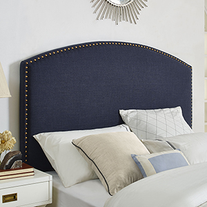 Cassie Curved Upholstered Full or Queen Headboard in Navy Linen