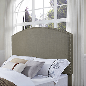 Cassie Curved Upholstered Full or Queen Headboard in Shadow Gray Linen