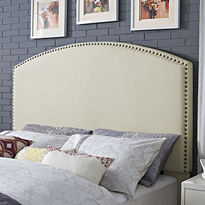 Cassie Curved Upholstered King or Cal King Headboard in Creme Linen