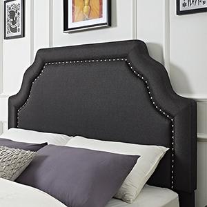 Loren Keystone Upholstered Full or Queen Headboard in Charcoal Linen