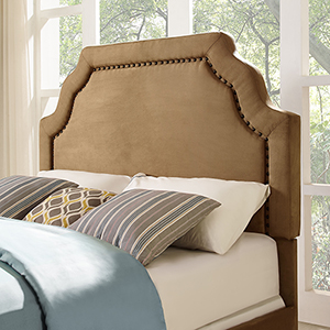 Loren Keystone Upholstered Full or Queen Headboard in Camel Microfiber