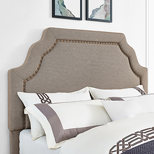 Loren Keystone Upholstered Full or Queen Headboard in Oatmeal Linen