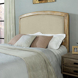 Cambria King or Cal King Headboard in Creme in Weathered Pine And Creme Linen