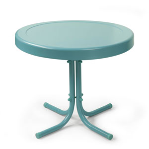 Retro Caribbean Blue Metal Outdoor Side Table