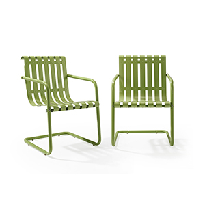 Gracie Stainless Steel Chair - Green Set of 2
