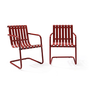 Gracie Stainless Steel Chair - Red Set of 2