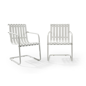 Gracie Stainless Steel Chair - White Set of 2