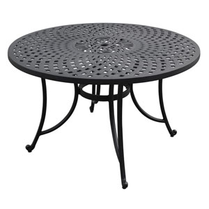 Sedona 48-Inch Cast Aluminum Dining Table in Charcoal Black Finish