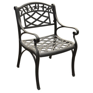 Sedona Cast Aluminum Arm Chair in Charcoal Black Finish- Set of Two