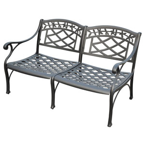 Sedona Cast Aluminum Loveseat in Charcoal Black Finish