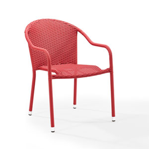 Palm Harbor Red Outdoor Wicker Stackable Chair, Set of 4
