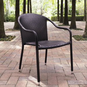 Palm Harbor Brown Outdoor Wicker Stackable Chairs- Set of 4