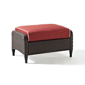 Kiawah Outdoor Wicker Ottoman with Sangria Cushions
