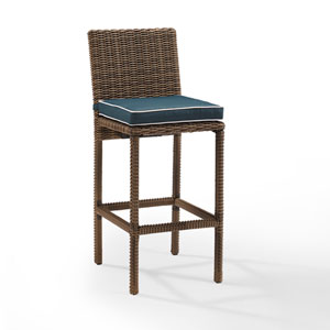 Bradenton Navy Outdoor Wicker Bar Height Stool, Set of 2