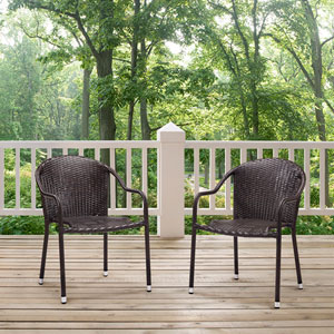 Palm Harbor Brown Outdoor Wicker Stackable Chair, Set of 2