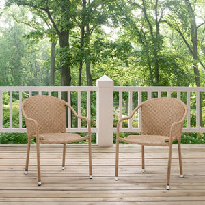 Palm Harbor Light Brown Outdoor Wicker Stackable Chair, Set of 2