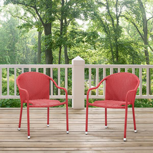Palm Harbor Red Outdoor Wicker Stackable Chair, Set of 2