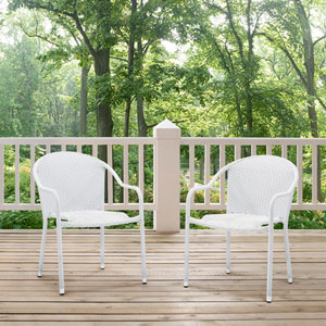 Palm Harbor White Outdoor Wicker Stackable Chair, Set of 2