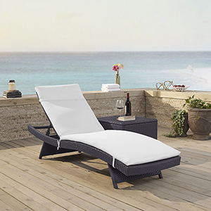 Biscayne Chaise Lounge With White Cushion