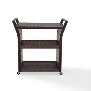 Palm Harbor Brown Outdoor Wicker Bar Cart