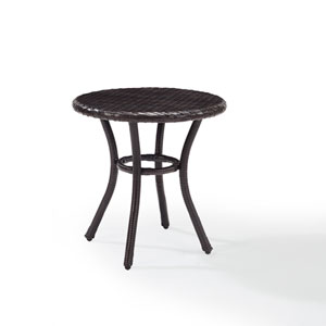 Palm Harbor Brown Outdoor Wicker Round Side Table