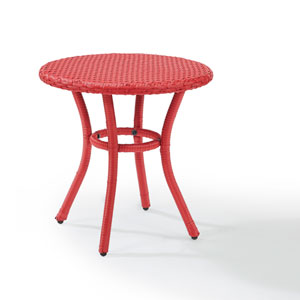 Palm Harbor Red Outdoor Wicker Round Side Table