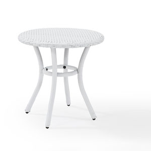 Palm Harbor White Outdoor Wicker Round Side Table