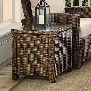 Bradenton Brown Outdoor Wicker Rectangular Side Table