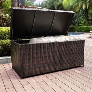 Palm Harbor Brown Outdoor Wicker Storage Bin