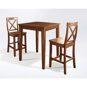 Three Piece Pub Dining Set with Tapered Leg and X-Back Stools in Classic Cherry Finish