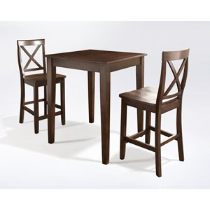 Three Piece Pub Dining Set with Tapered Leg and X-Back Stools in Vintage Mahogany Finish