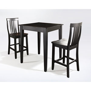 Three Piece Pub Dining Set with Tapered Leg and School House Stools in Black Finish