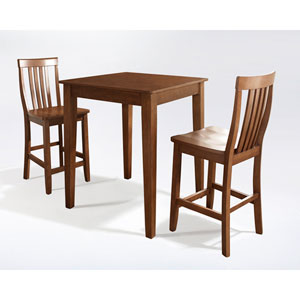 Three Piece Pub Dining Set with Tapered Leg and School House Stools in Classic Cherry Finish
