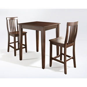 Three Piece Pub Dining Set with Tapered Leg and School House Stools in Vintage Mahogany Finish
