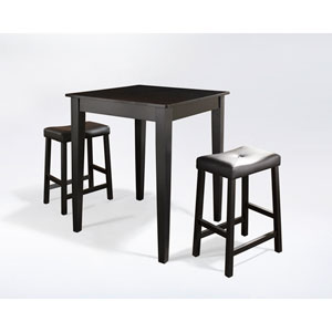Three Piece Pub Dining Set with Tapered Leg and Upholstered Saddle Stools in Black Finish