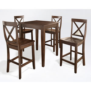 Five Piece Pub Dining Set with Tapered Leg and X-Back Stools in Vintage Mahogany Finish