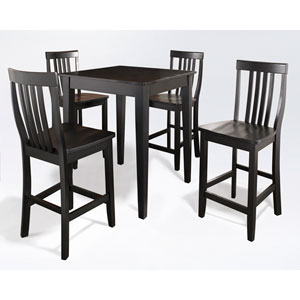 Five Piece Pub Dining Set with Tapered Leg and School House Stools in Black Finish