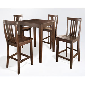 Five Piece Pub Dining Set with Tapered Leg and School House Stools in Vintage Mahogany Finish