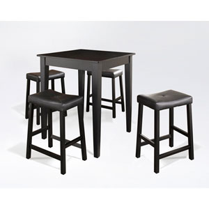Five Piece Pub Dining Set with Tapered Leg and Upholstered Saddle Stools in Black Finish