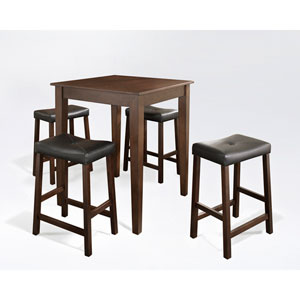 Five Piece Pub Dining Set with Tapered Leg and Upholstered Saddle Stools in Vintage Mahogany Finish
