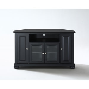 Alexandria 48-Inch Corner TV Stand in Black Finish