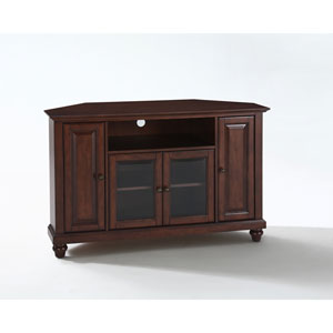 Cambridge 48-Inch Corner TV Stand in Vintage Mahogany Finish