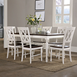 Shelby 7 Piece Dining Set in White Finish