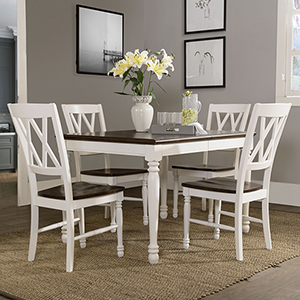 Shelby 5 Piece Dining Set in White Finish